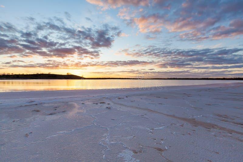 Lago Crossbie al tramonto, Murray Sunset National Park immagini stock libere da diritti