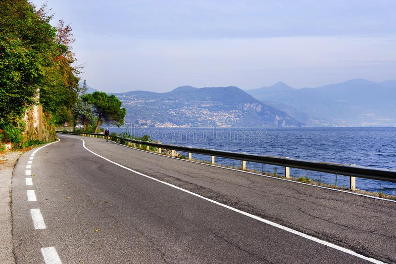 Lake Iseo, seen from its west bank. royalty free stock photos