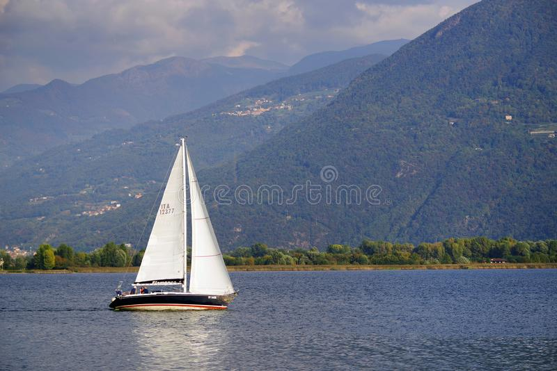 ISEO LAKE, ITALY, 20 OCTOBER, 2018: Yachting on Iseo Lake, near to Lovere town. Lago d`Iseo or Sebino is the fourth largest lake in Lombardy, Italy, fed by the royalty free stock photos