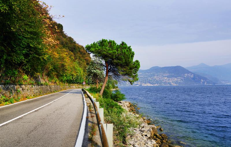 Lake Iseo, seen from its west bank. royalty free stock images