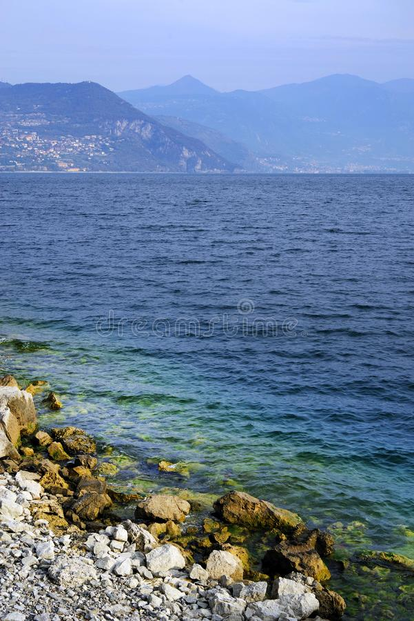 Lake Iseo, seen from its west bank. stock photos