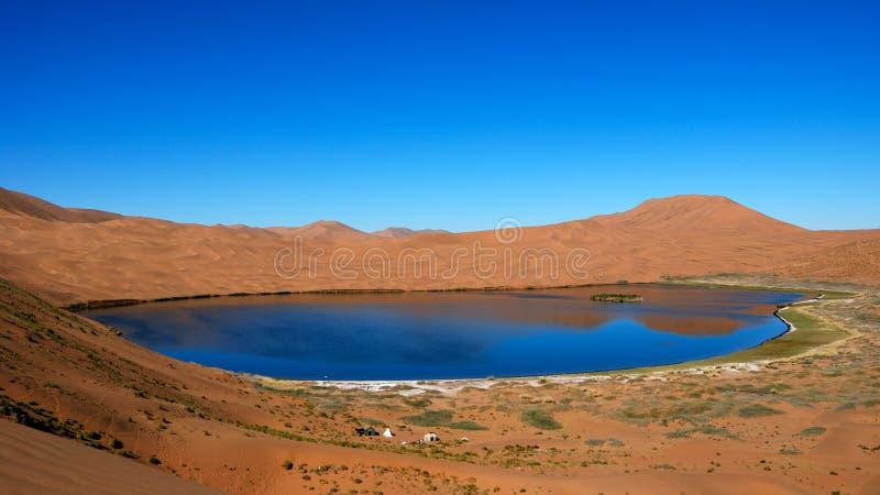 Lago da água de sal no deserto imagens de stock
