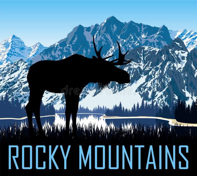 Lago das montanhas rochosas do vetor com alces ilustração do vetor