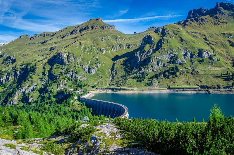 Lago de Fedaia, Italie image libre de droits
