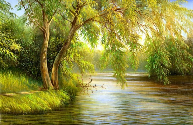 Lago de madera stock de ilustración