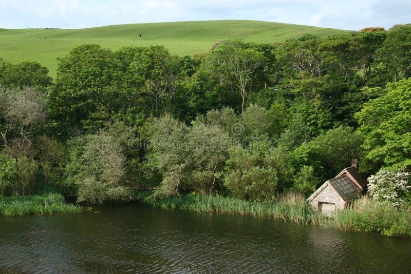 Lago del cenagal, St Abbs, Northumberland y fronteras escocesas fotos de archivo