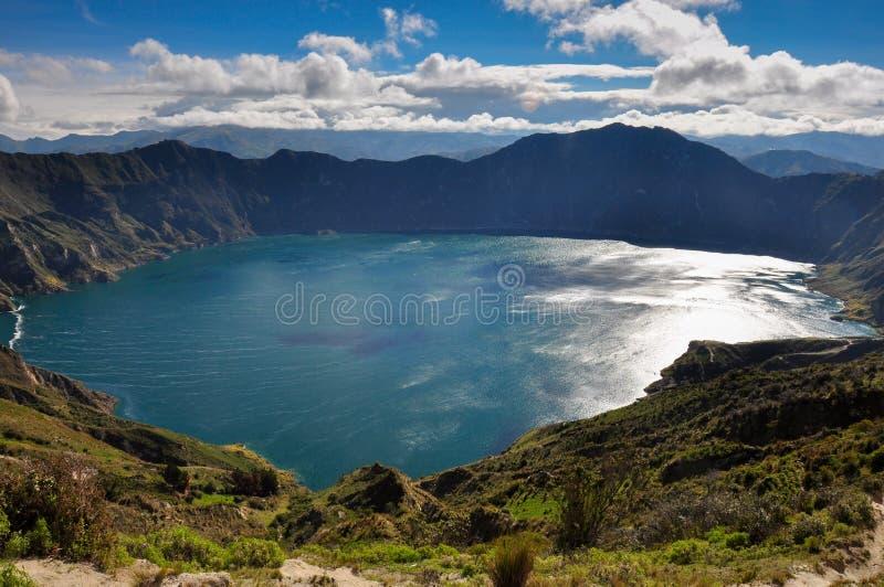 Lago del cratere di Quilotoa, Ecuador fotografia stock