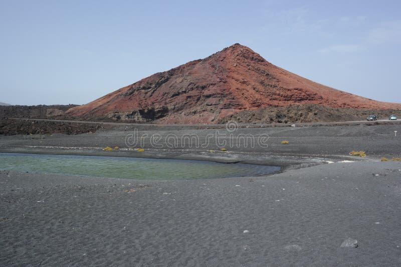Lago del golfo del EL, Lanzarote, islas de Canaria fotografía de archivo