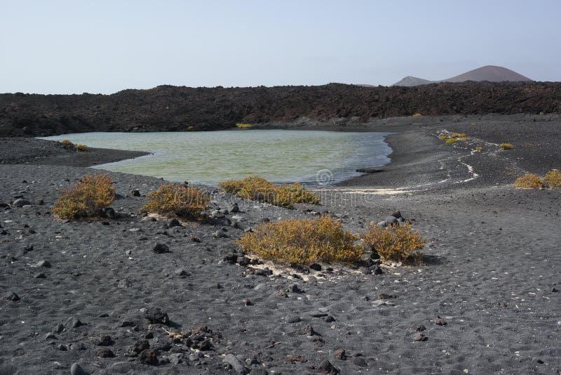 Lago del golfo del EL, Lanzarote, islas de Canaria imagen de archivo