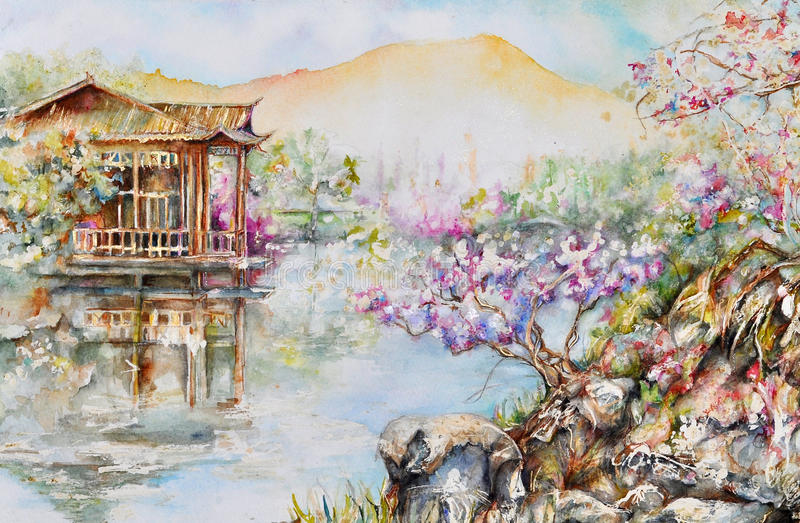 Lago del oeste stock de ilustración