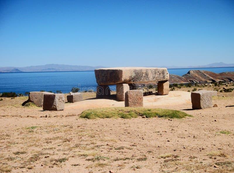 Lago del paesaggio della montagna di copacabana di rovine della Bolivia isla del sol immagine stock