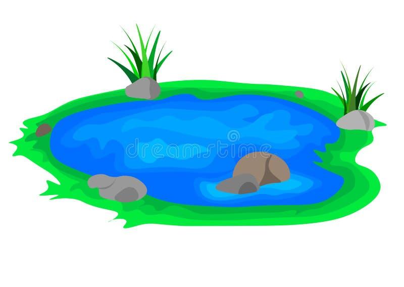 Lago, lago dell'icona, acqua Progettazione piana, vettore illustrazione di stock