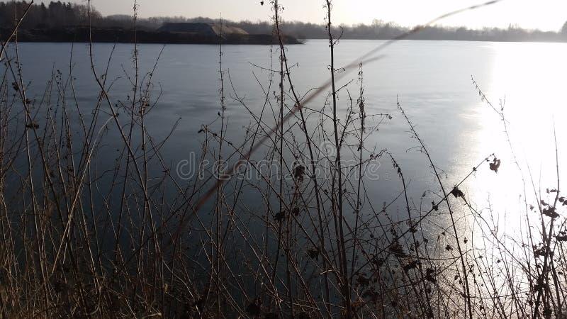 Lago della cava di ghiaia immagine stock libera da diritti
