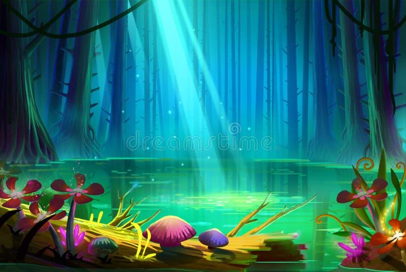 Lago dentro la foresta profonda illustrazione vettoriale