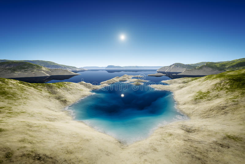 Lago desert ilustração royalty free