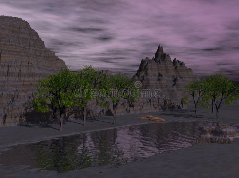 Lago desert de la fantasía de Nightime stock de ilustración