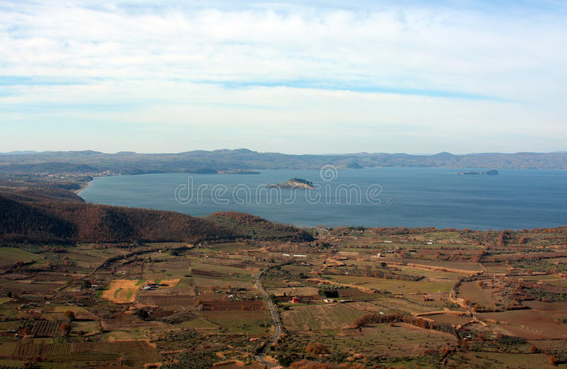 Lago di bolsena. (an extinct volcano crater)from Montefiascone royalty free stock images