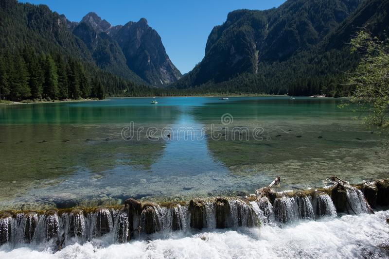 Lago di Braies stock photo