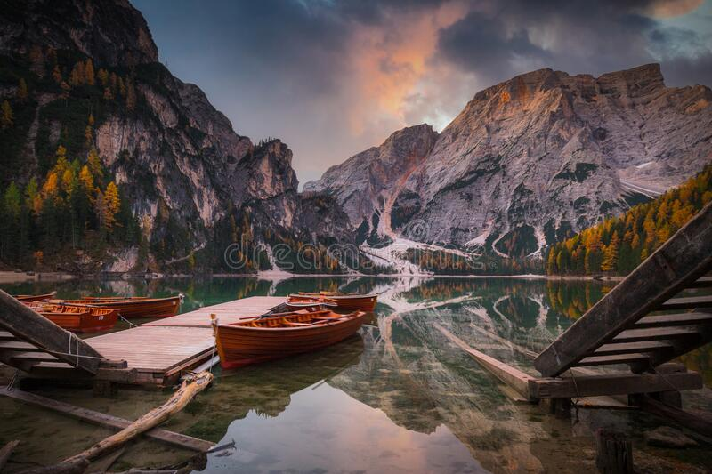 Lago di Braies lake and Seekofel peak at sunrise, Dolomites. Italy royalty free stock photography