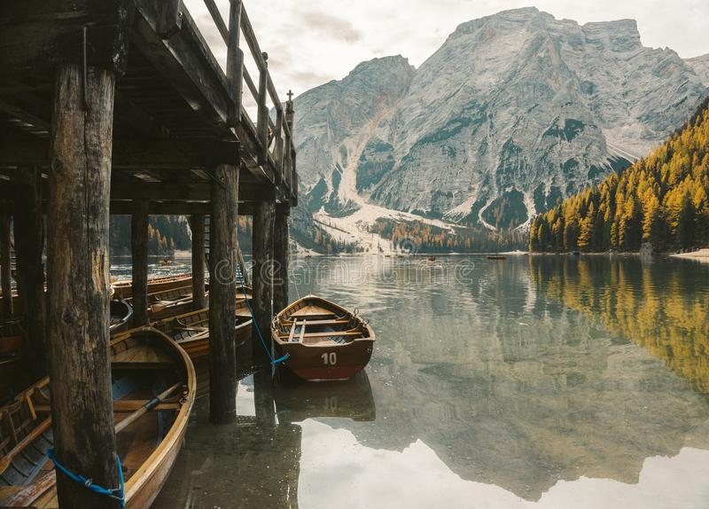 Lago Di Braies - magiczny breathtaking jezioro obraz stock