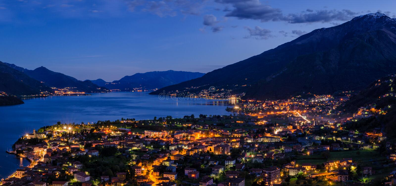 Lago di Como Lake Como high definition panorama. At blue hour stock image