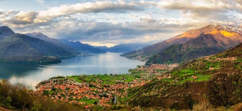 Lago di Como (Lake Como) high definition panorama from Peglio. At sunrise stock photo