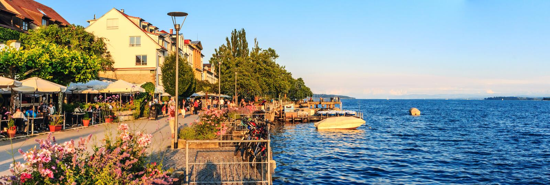 Lago di Costanza a Uberlingen in Germania immagine stock