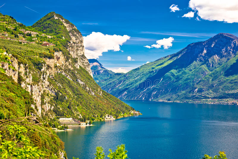 Lago di Garda and high mountain peaks view. Limone sul Garda, Lombardy, Italy royalty free stock photography