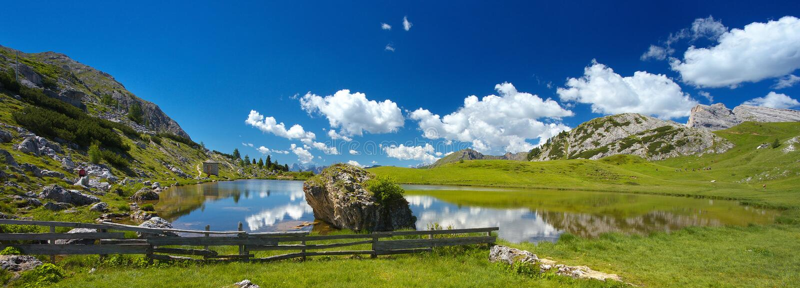 Lago di Valparola,白云岩,意大利 免版税库存图片