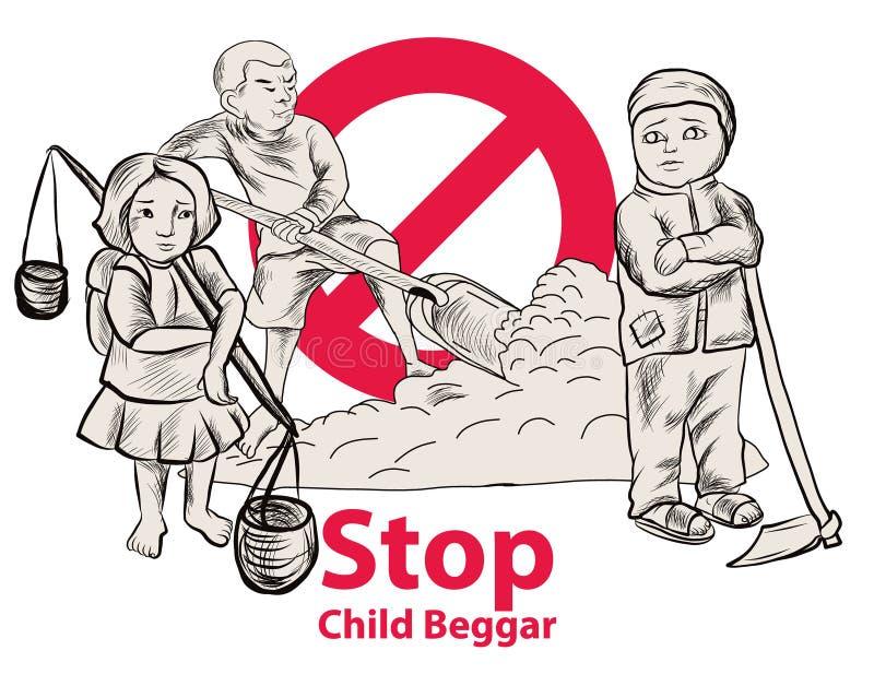 Lago dibujado mano child una libertad necesitan la educación, mendigo rojo del niño de la parada del símbolo stock de ilustración