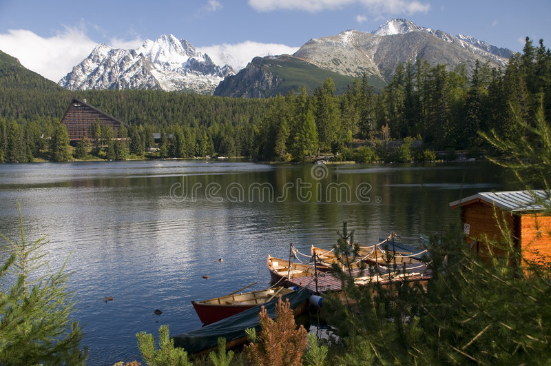 Lago do pleso de Strbske imagem de stock