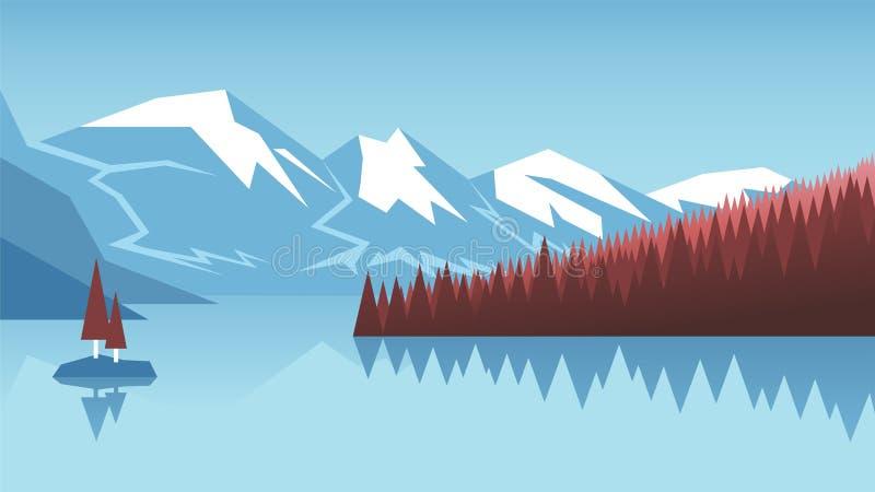 Lago e montagne illustrazione vettoriale
