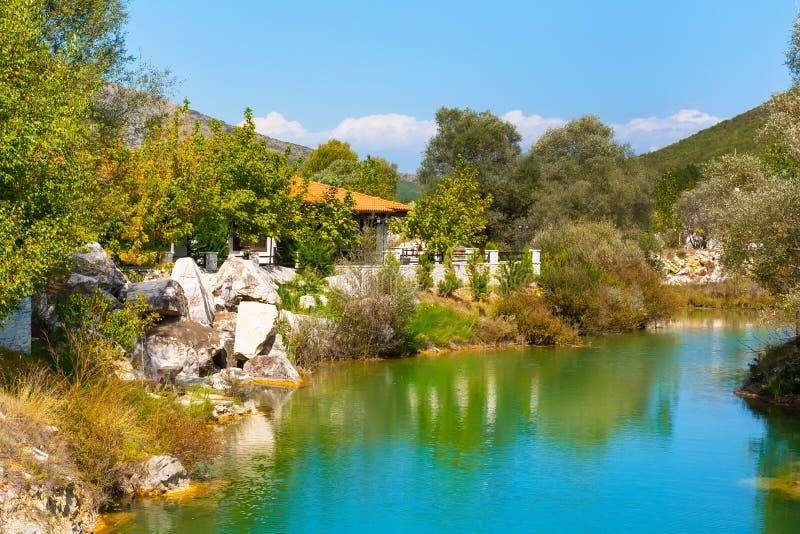 Lago e paesaggio verde degli alberi con le montagne immagine stock