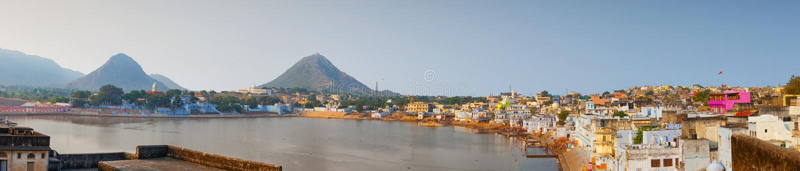 Lago e paisagem de Pushkar, Índia foto de stock