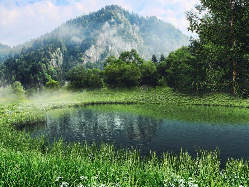 Lago e prado nas montanhas ilustração do vetor