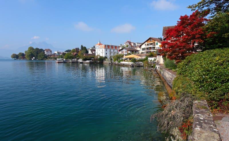 Lago e sosta switzerland in Erbaspagna Kanton. Weggi fotografie stock