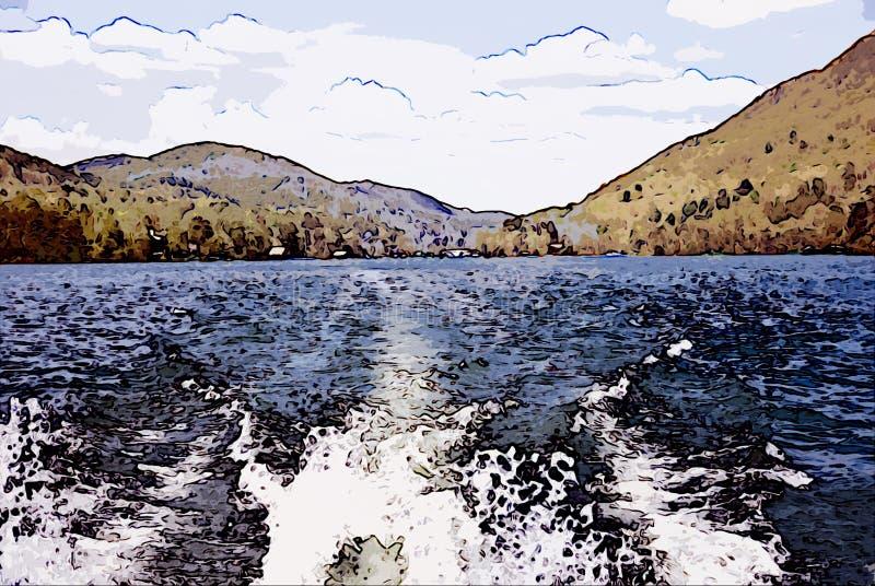Lago ed illustrazione di Moutains illustrazione vettoriale