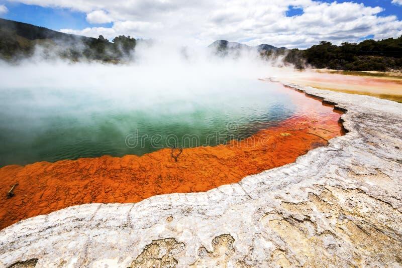 Lago efervescente quente em Nova Zelândia imagem de stock