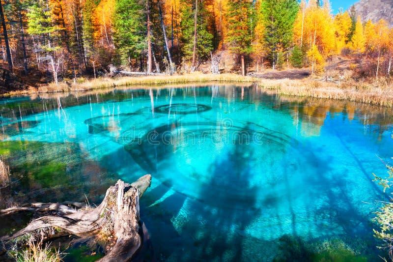 Lago em montanhas de Altai do outono, Sibéria geyser, Rússia foto de stock