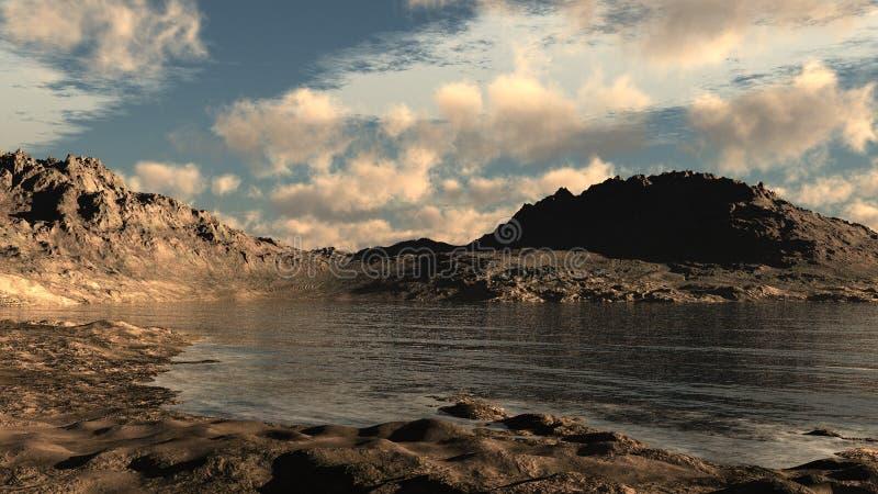 Lago em um deserto rochoso ilustração do vetor