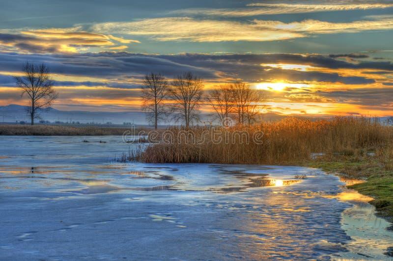 Lago en el invierno costero foto de archivo