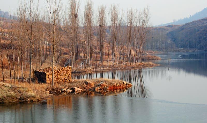 Lago en invierno caliente foto de archivo libre de regalías