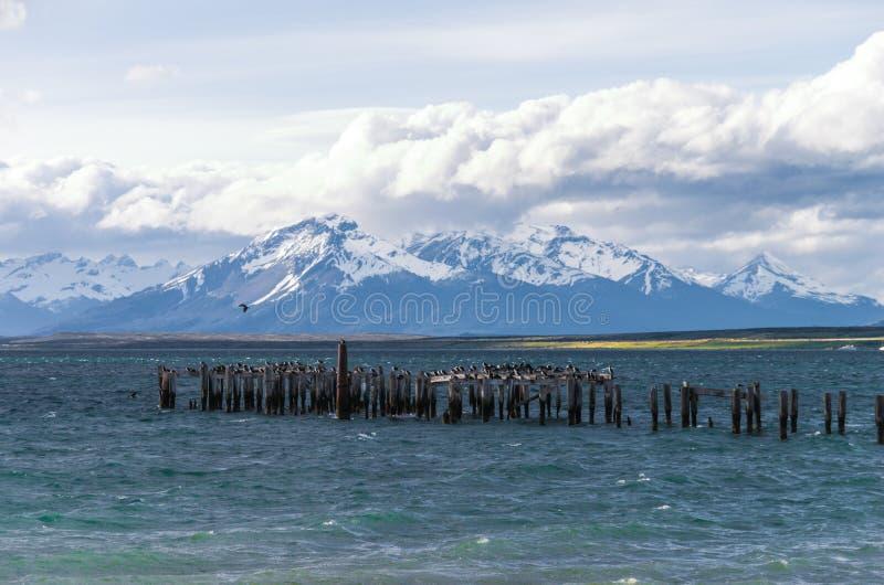 Lago en Puerto Natales en Chile imagen de archivo