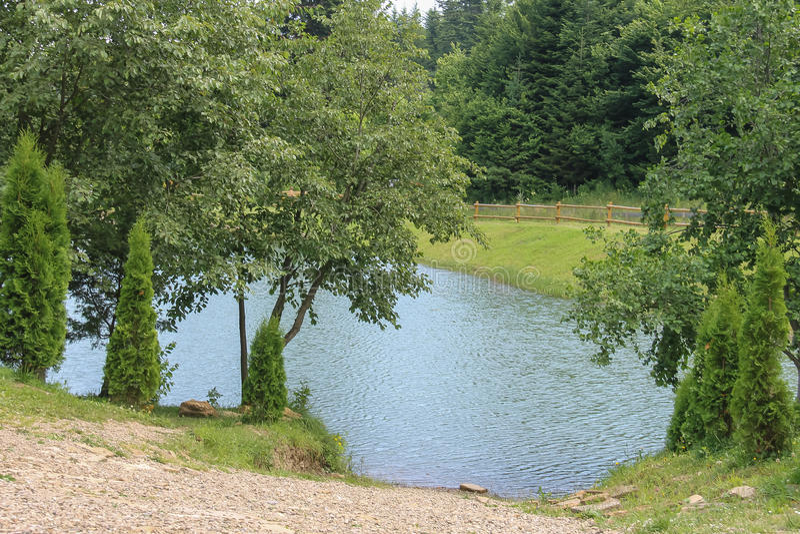 Lago en ucraniano Cárpatos foto de archivo