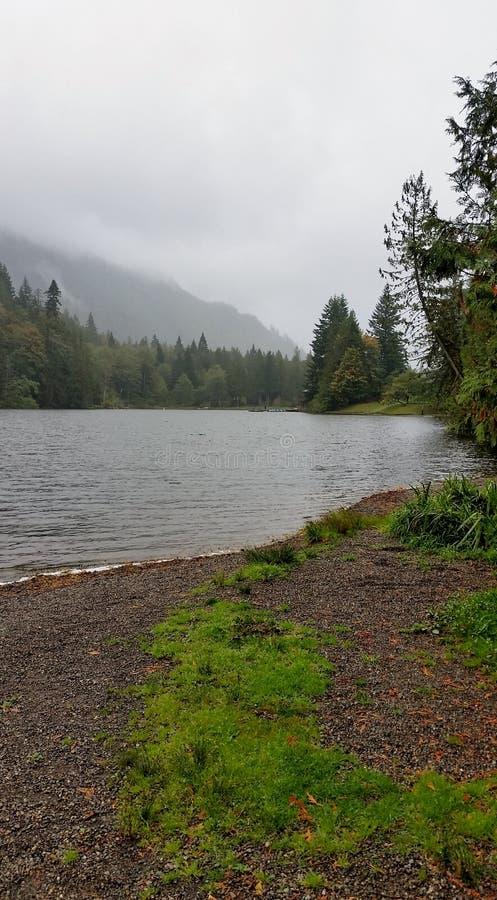 Lago en un día lluvioso de la caída foto de archivo