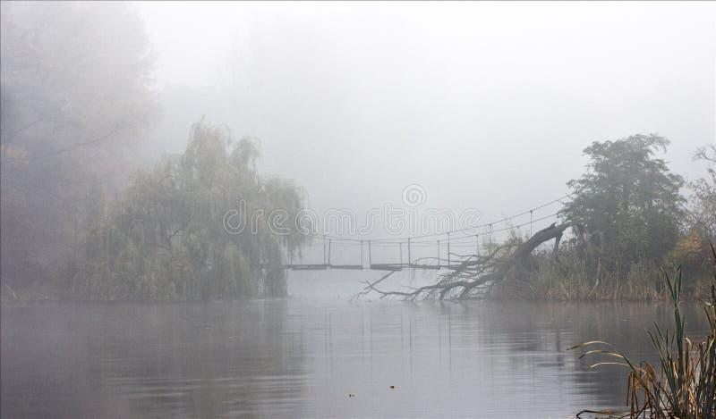 Lago en una niebla imagen de archivo libre de regalías
