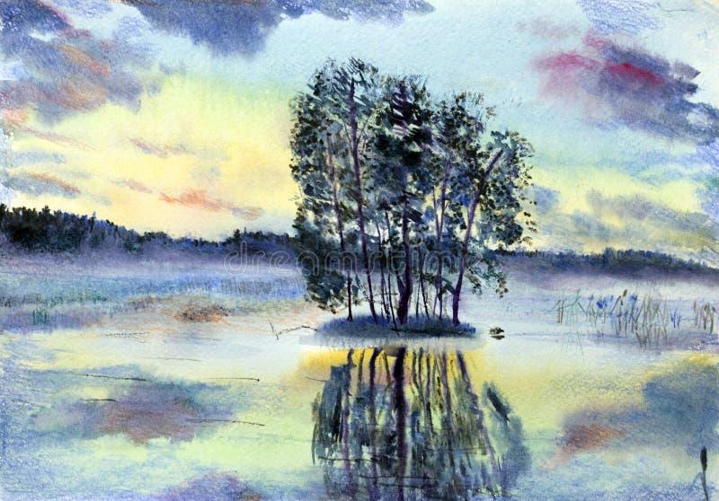 Lago enevoado ilustração stock