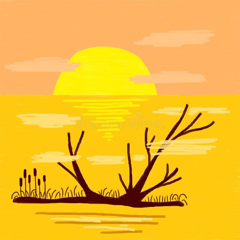 Lago enevoado no nascer do sol ilustração royalty free