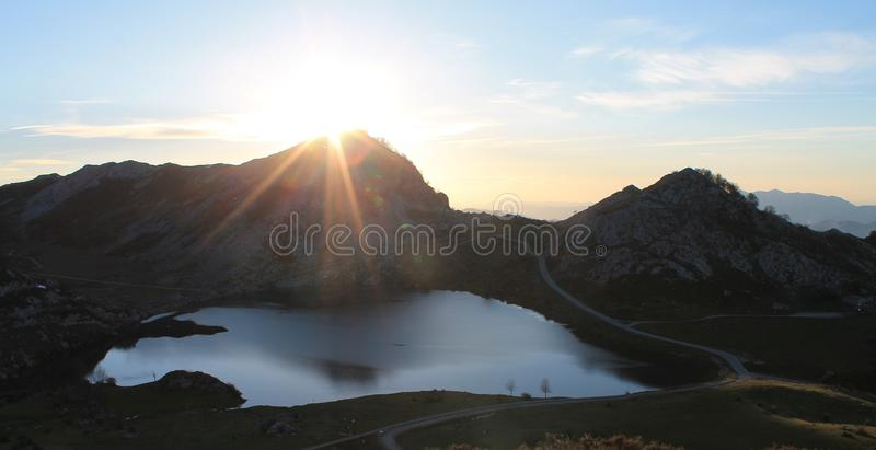 Lago Enol, Cangas de Onís, Spain. Lake Enol with the Porra de Enol mountain in the background, at sunset. Lake Enol is a small highland lake in the royalty free stock photography