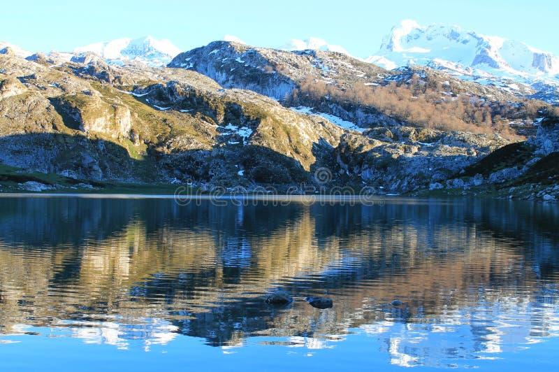 Lago Ercina, Cangas de Onís, Spain. Lake Ercina is a small highland lake in Asturias, Spain. It is a lake of glacier origin, located in the Picos de Europa stock photos